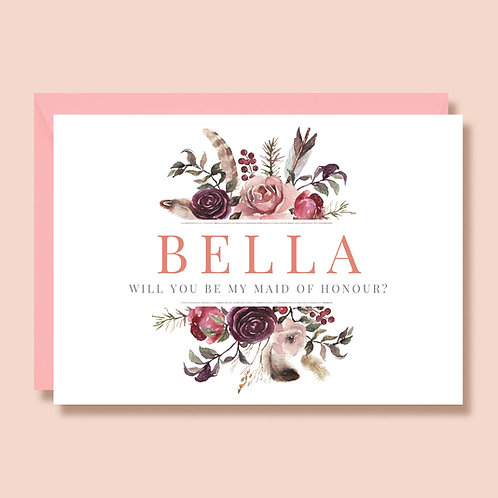 Will You Be My Maid Of Honour | Wedding Proposal Card | Personalised | Bohemian Pink Floral Feathers