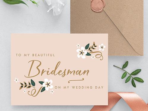 Thank you Bridesman card wedding