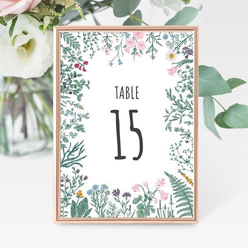 Botanical Table Numbers Wedding