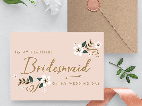 Thank you Bridesmaid card wedding