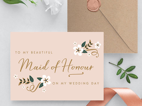 Thank you Maid of Honour Card wedding