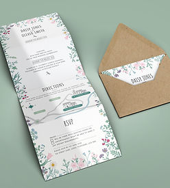 Wildflower Botanical Wedding Invitation with Map and RSVP