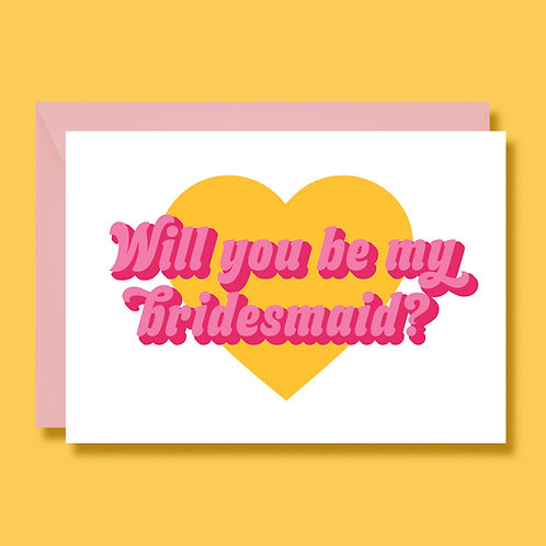 Retro 70s Style Will You Be My Bridesmaid Card