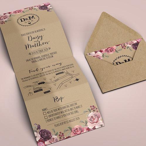 Kraft folded wedding invitation