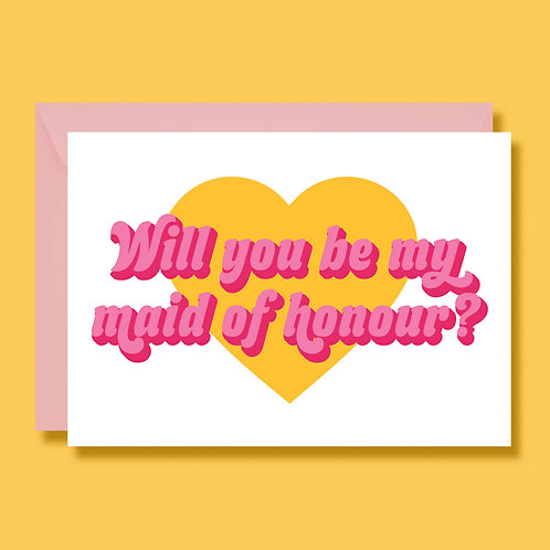 Will You Be My Maid of Honour Wedding Proposal Card