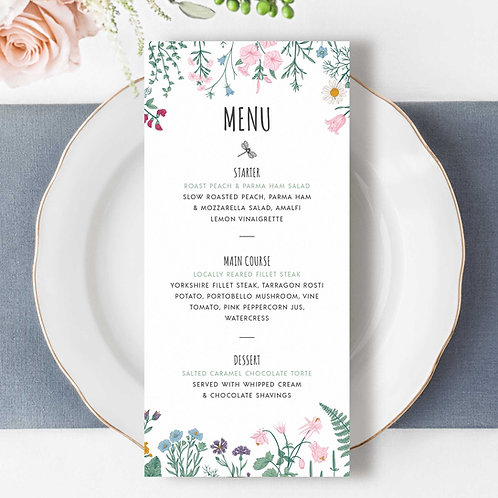 Wedding Menu Design and Print