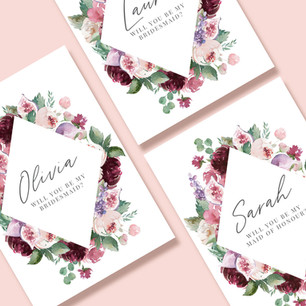 Bridesmaid, Maid of Honour and Flower Girl Wedding Proposal Cards