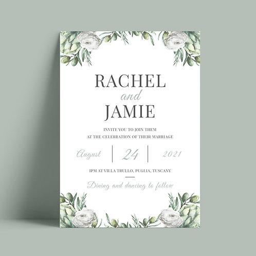Elegant greenery wedding invitation card
