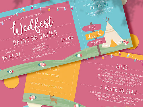 Wedfest Festival Style wedding invitations
