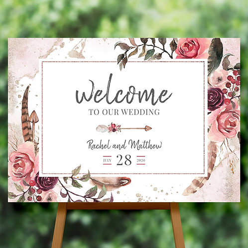 Wedding Welcome Sign Bohemian