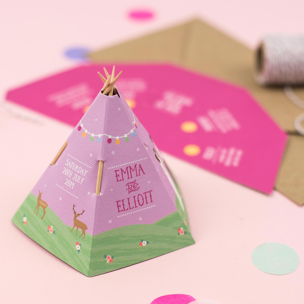 Tipi wedding save the date for festival themed wedding