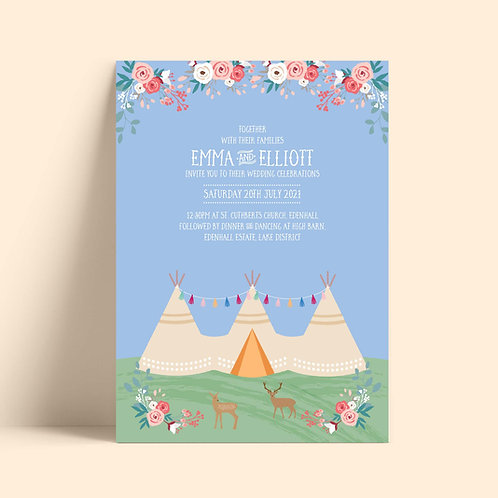 Tipi Wedding Invitation Template Printed Card