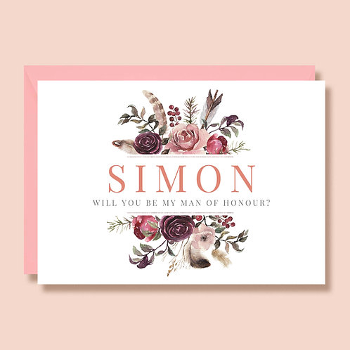 Man of Honour Wedding Proposal Card | Will you be my Man of Honour | Personalised Name | Bohemian Pink Flowers Feathers
