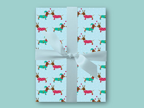 Dachshund Christmas Wrapping Paper, Sausage Dog Wrapping Paper