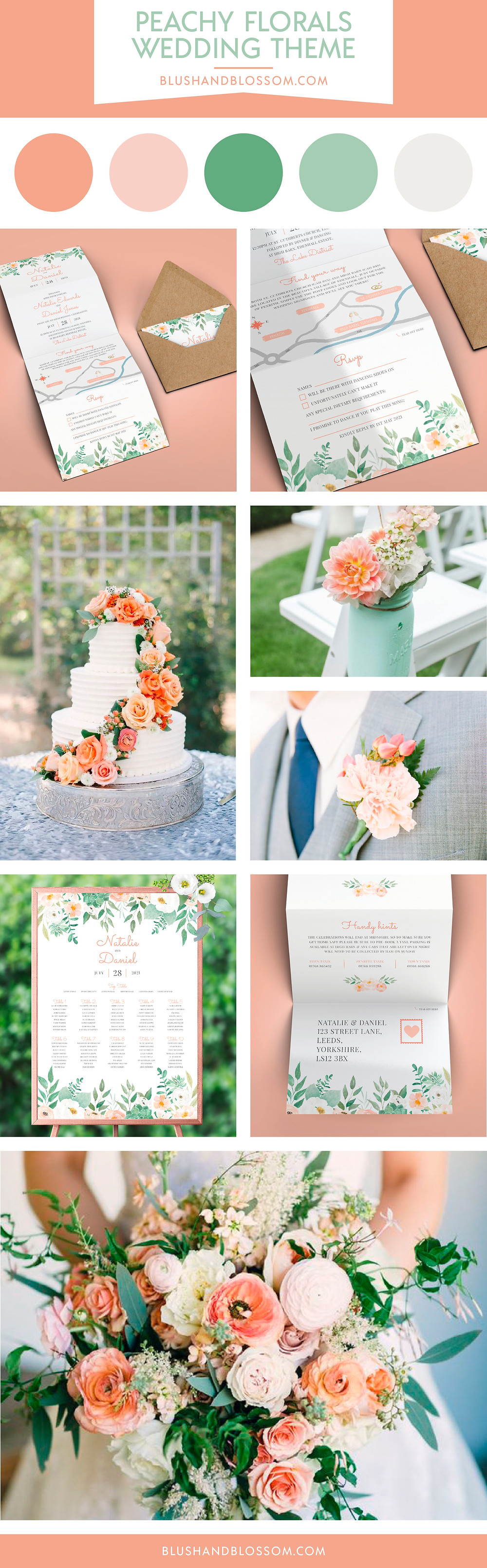 Peach and greenery floral wedding theme and inspiration