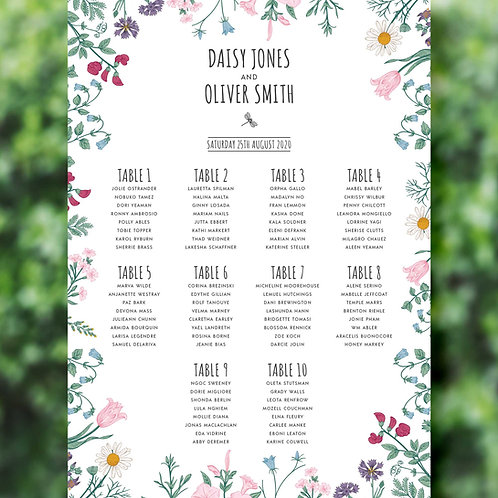 Botanical Style Wedding Table Plan
