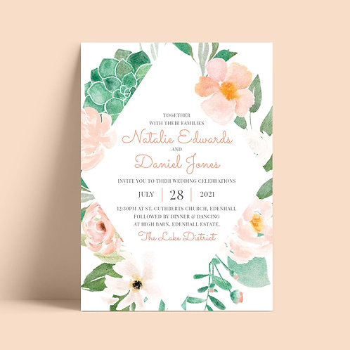 Peach Flowers Wedding Invitation