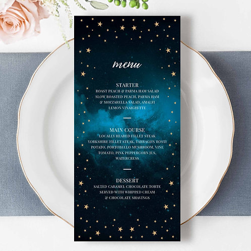 Celestial Starry Sky Wedding Menu Design