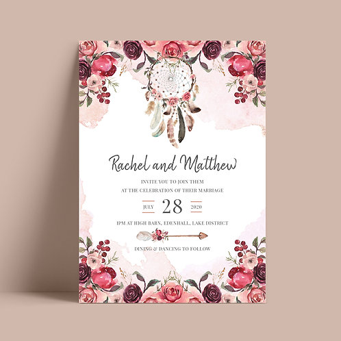 Boho Wedding Invitation Card Template