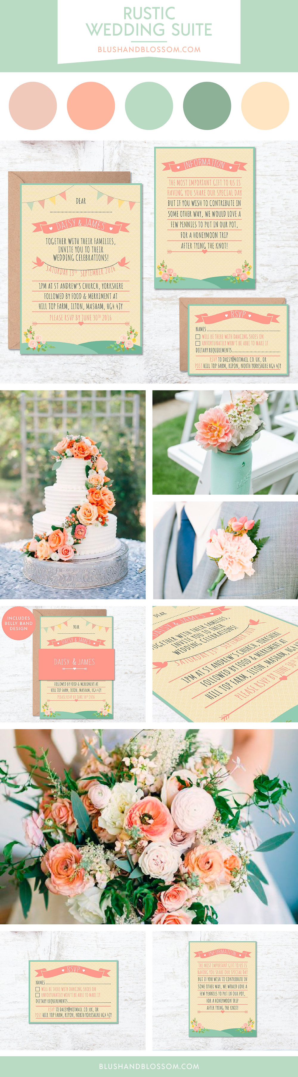 Peach and Green Wedding Colour Theme