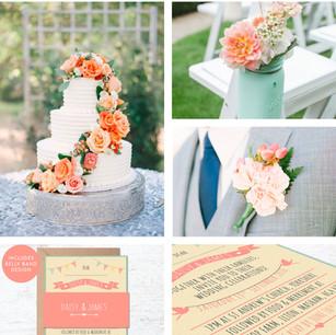 Peach and Green Wedding Colour Theme