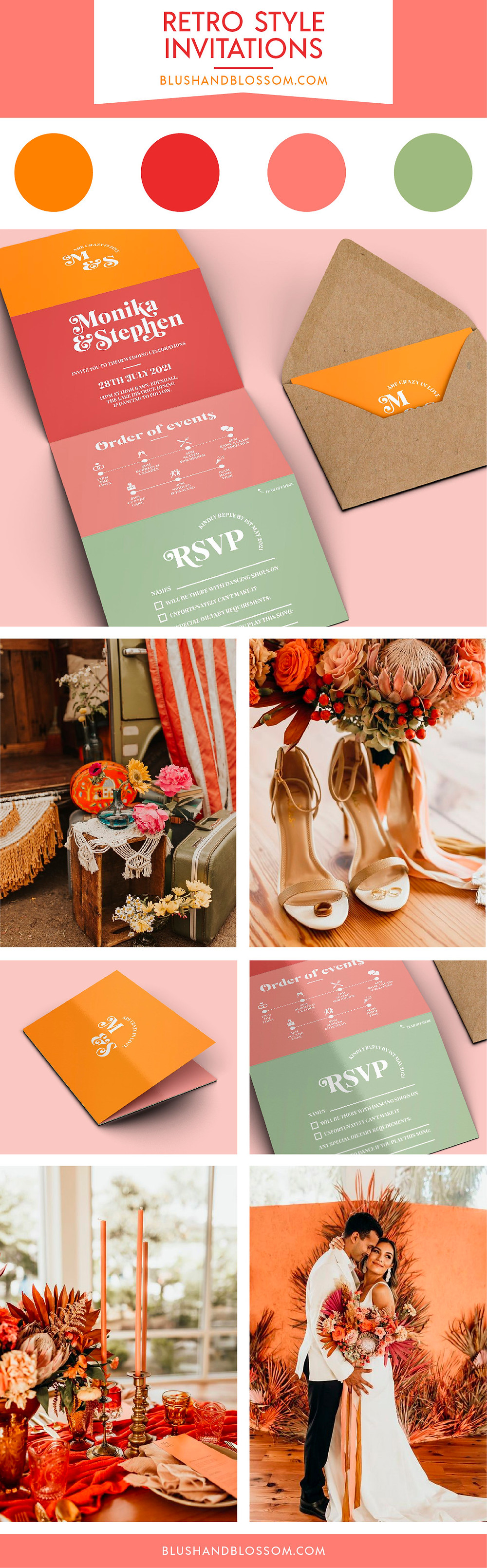 70s style is boogying it's way back into the wedding scene. Inspired by the vibrant 1970s, this wedding stationery collection is bold, fun and optimistic.