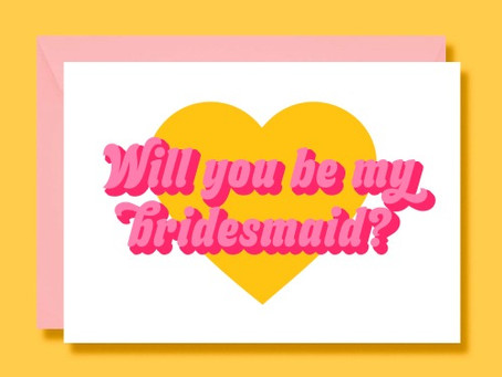 Retro 70s Bridesmaid, Maid of Honour, Flower Girl and Bridesman Wedding Proposal Cards