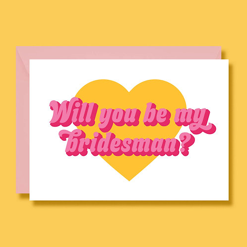 Will You Be My Bridesman Wedding Proposal Card Retro Style