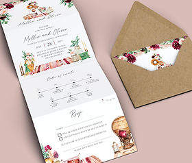 Bohemian Wedding Invitation with Tipis and Macrame, Concertina Folded