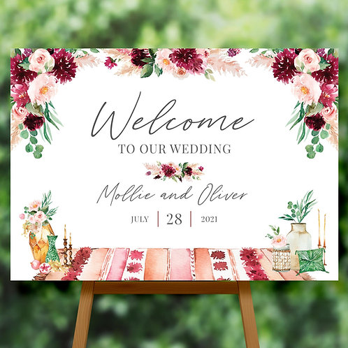 Boho Rustic Welcome Sign for Wedding with Flowers