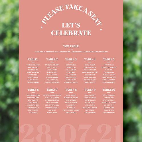 Retro Style Wedding Table Plan
