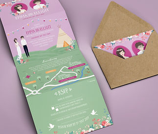 Tipi Wedding Invitation Concertina with Map and RSVP