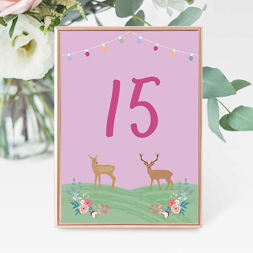Table Numbers Festival Wedding