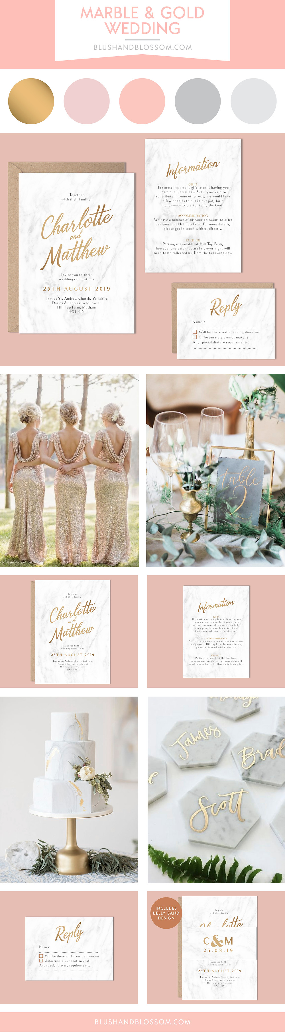 Marble wedding invitation and inspiration