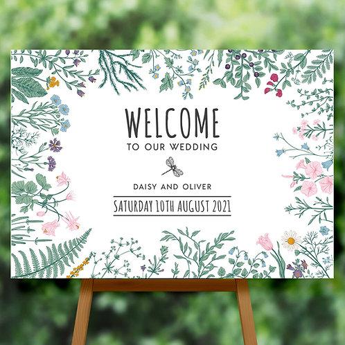 Wildflower Wedding Welcome Sign