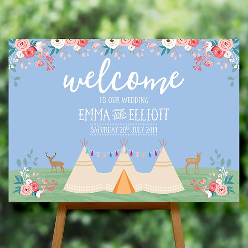 Tipi Wedding Welcome Sign on Mounted Board