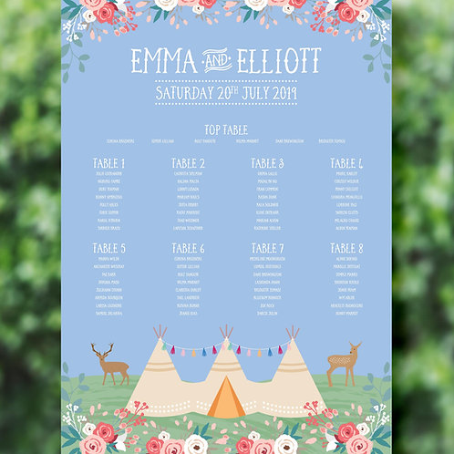Tipi Wedding Table Plan on Board