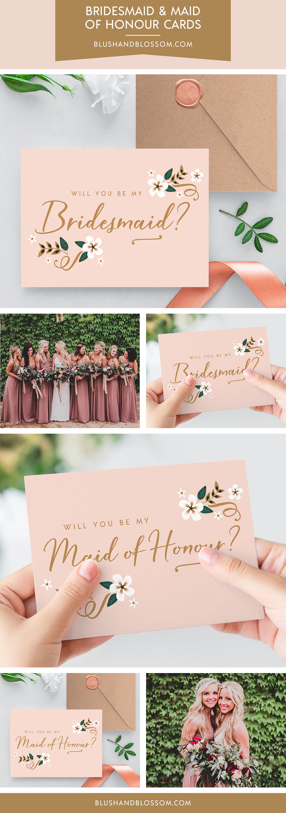 Will you be my bridesmaid and maid of honour cards