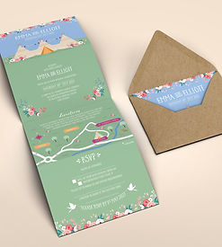 Tipi Festival Wedding Invitation Fold Out with Map