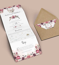 Boho Wedding Invitation Concertina Style