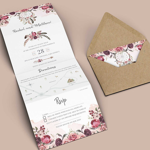 Folded Wedding Invitation Template