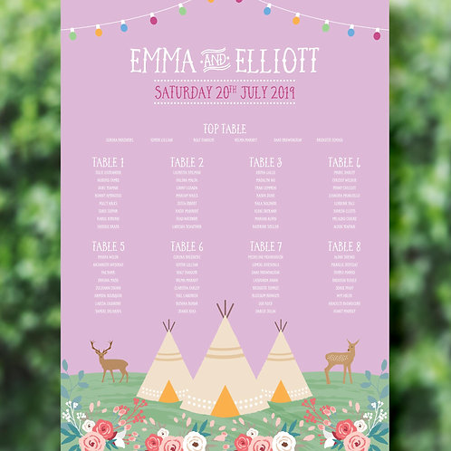 Tipi Wedding Table Plan Printed