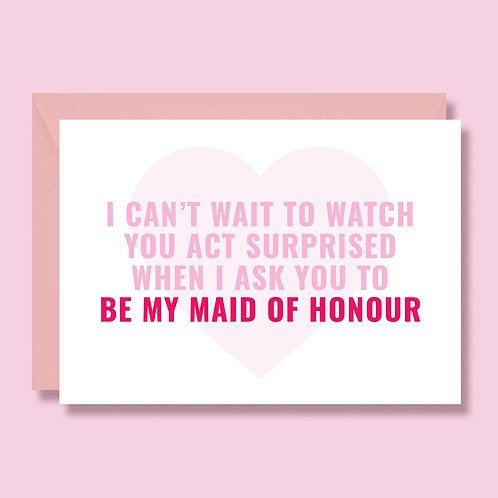 Maid of Honour Wedding Proposal Card, Funny Proposal Card, Maid of Honour Invite