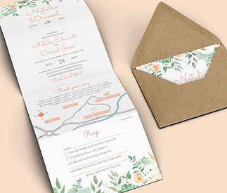 Peach Flowers Wedding Invitation Concertina and RSVP