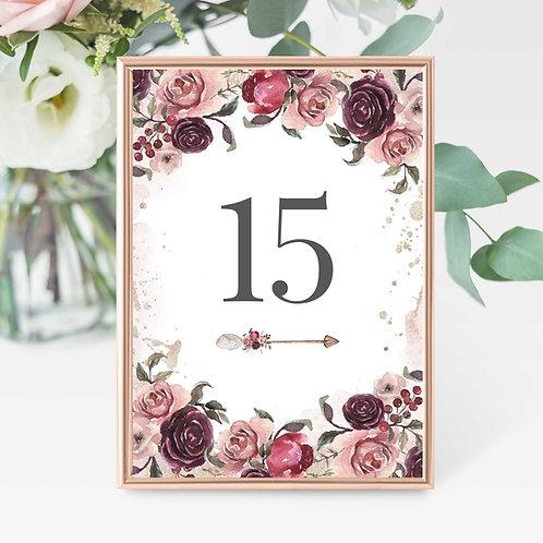 Wedding Table Numbers Bohemian