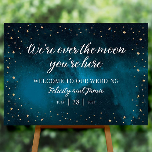 Celestial Moon and Stars Welcome Sign for Wedding