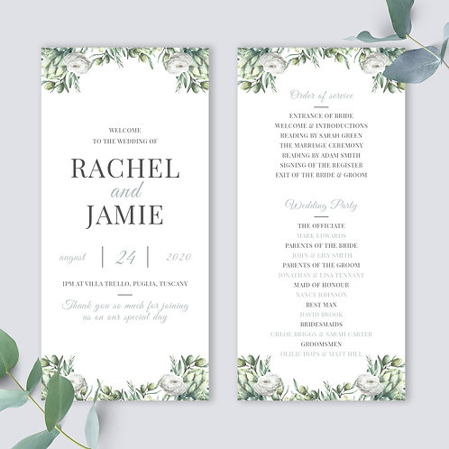 Wedding programme template