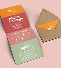 Retro 70s Concertina Invitation, Colourful and Bold Wedding Invite