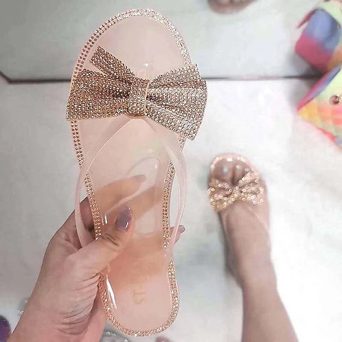 Rose Gold Rhinestone Jelly Sandals