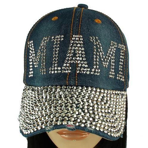 Miami Denim Rhinestone Hat